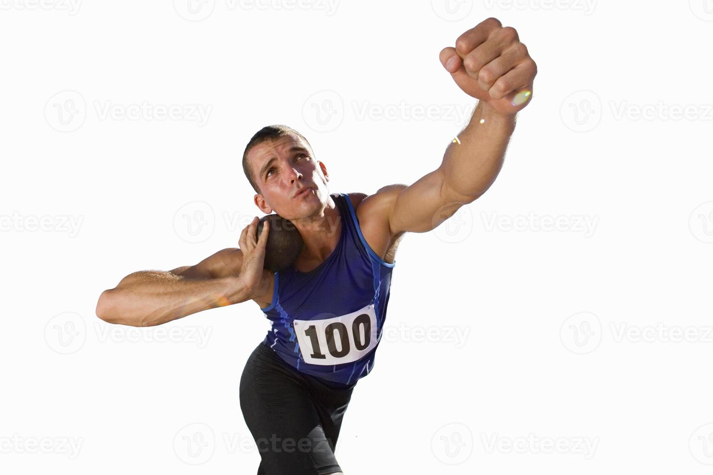 shotput player holding shot about to throw, cut out photo