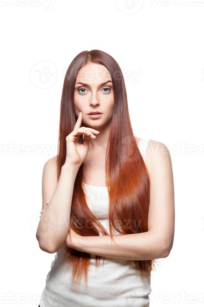 atractiva chica roja foto