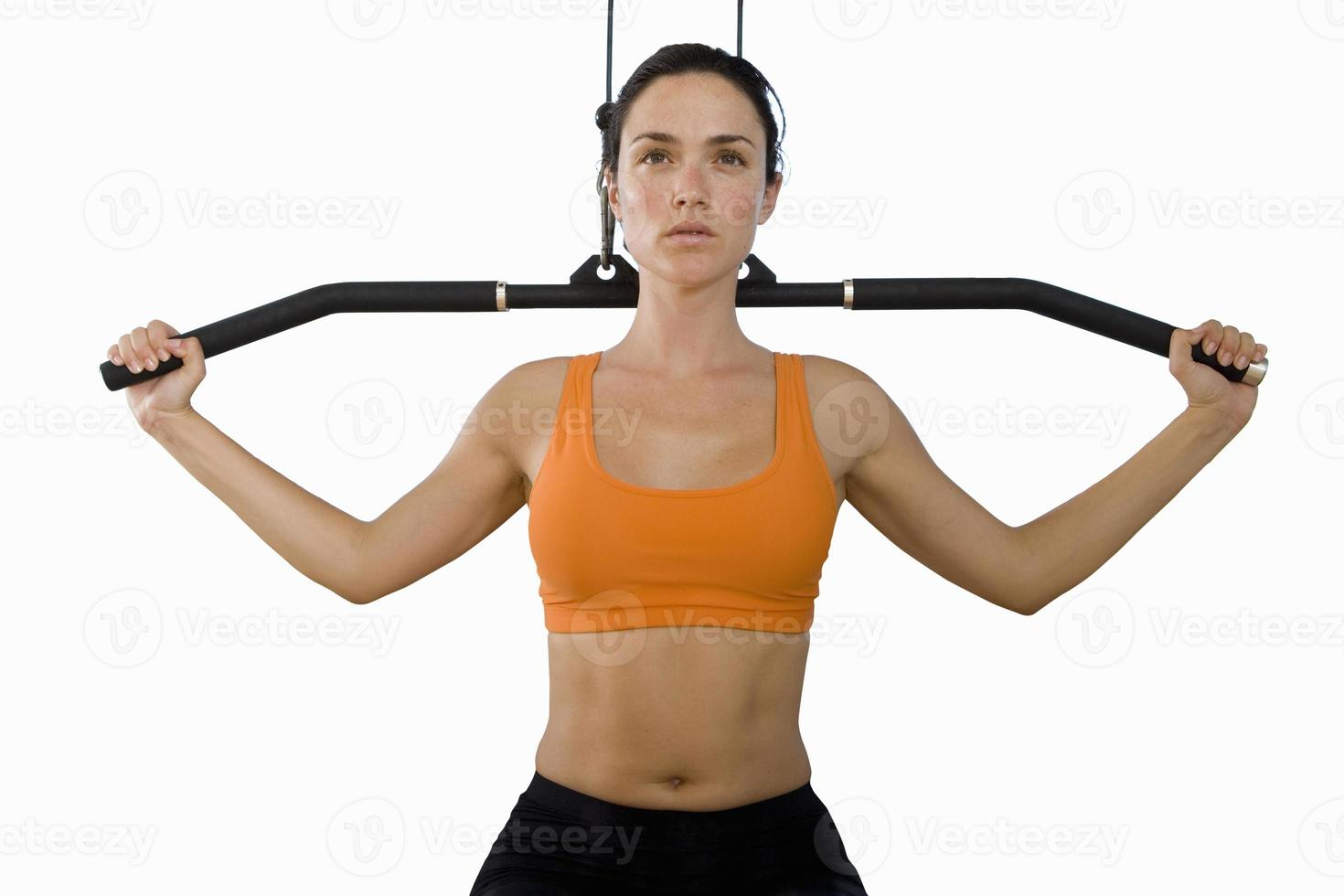 young woman in gym, cut out photo