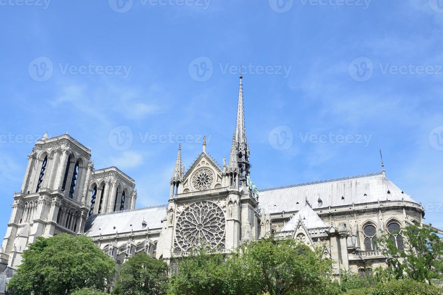 Notre dame from boat on  seine photo