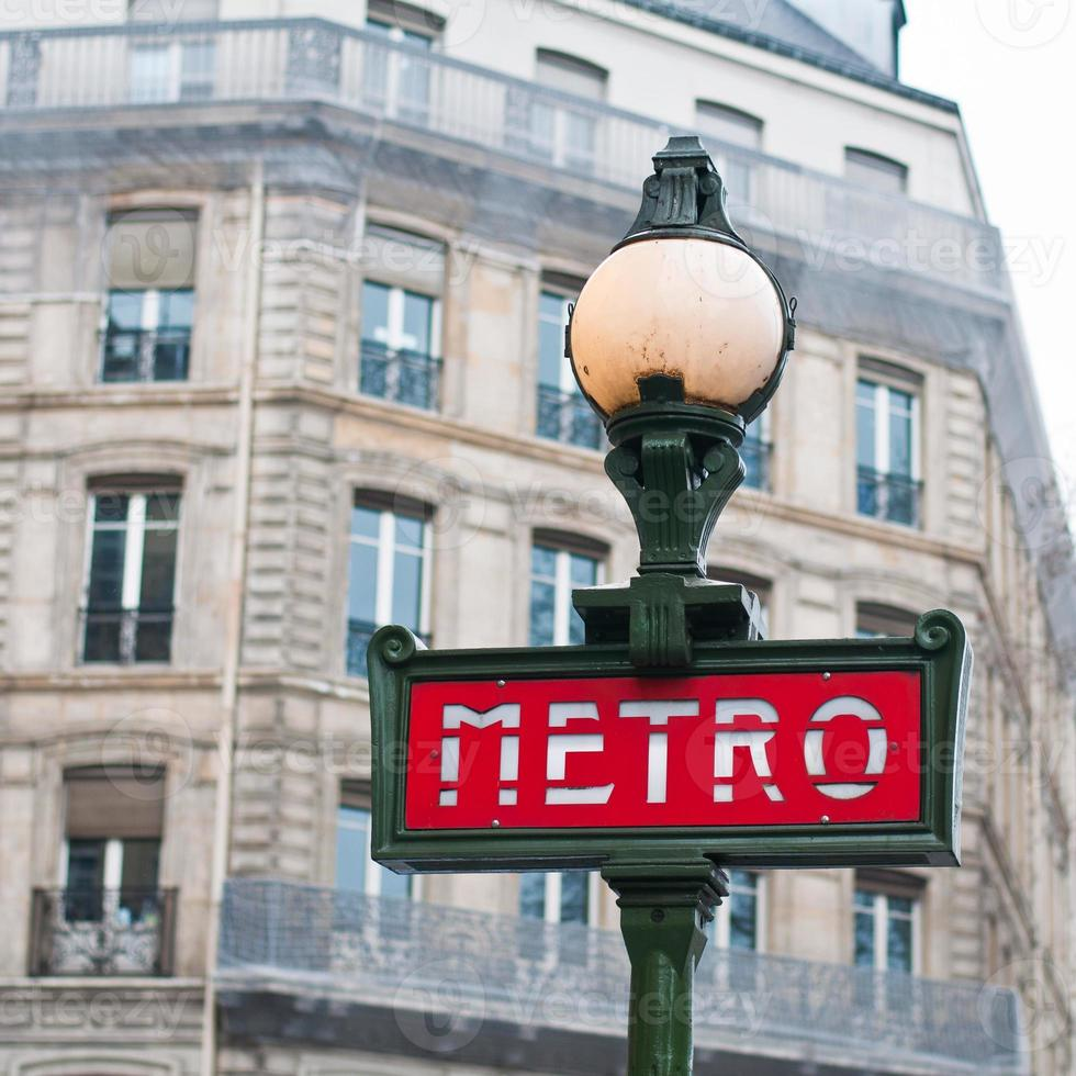 Metro sign for subway in Paris, France photo