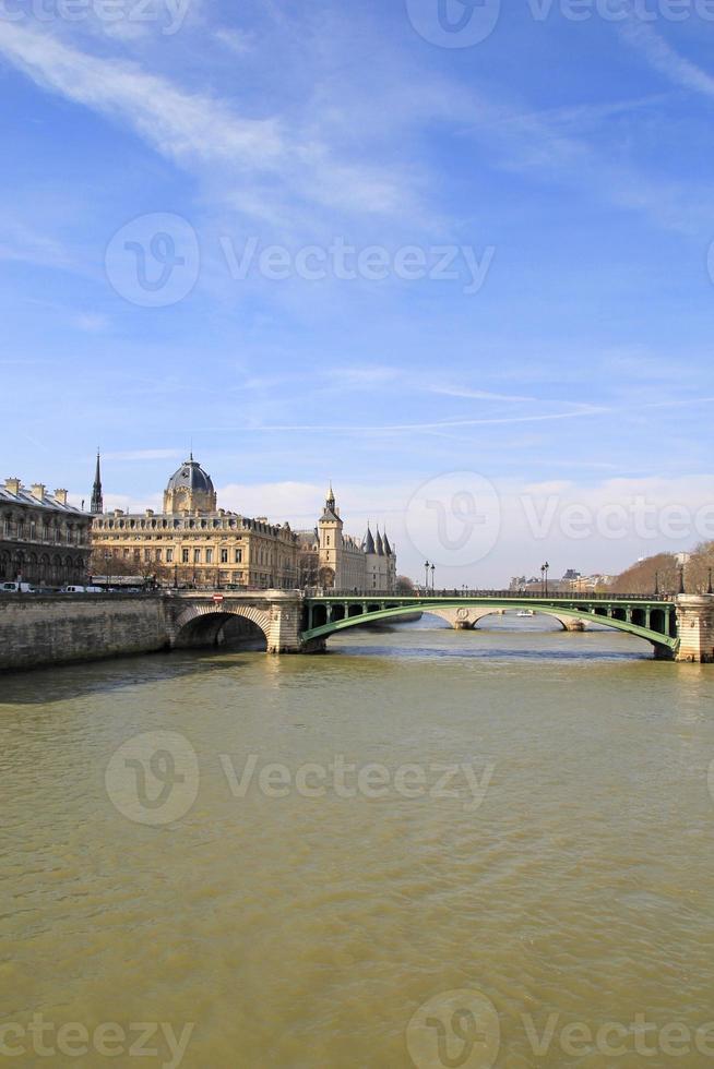 Paris bridge over Seine river, France. photo
