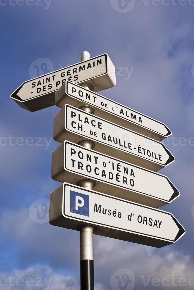 señal de direcciones de París foto