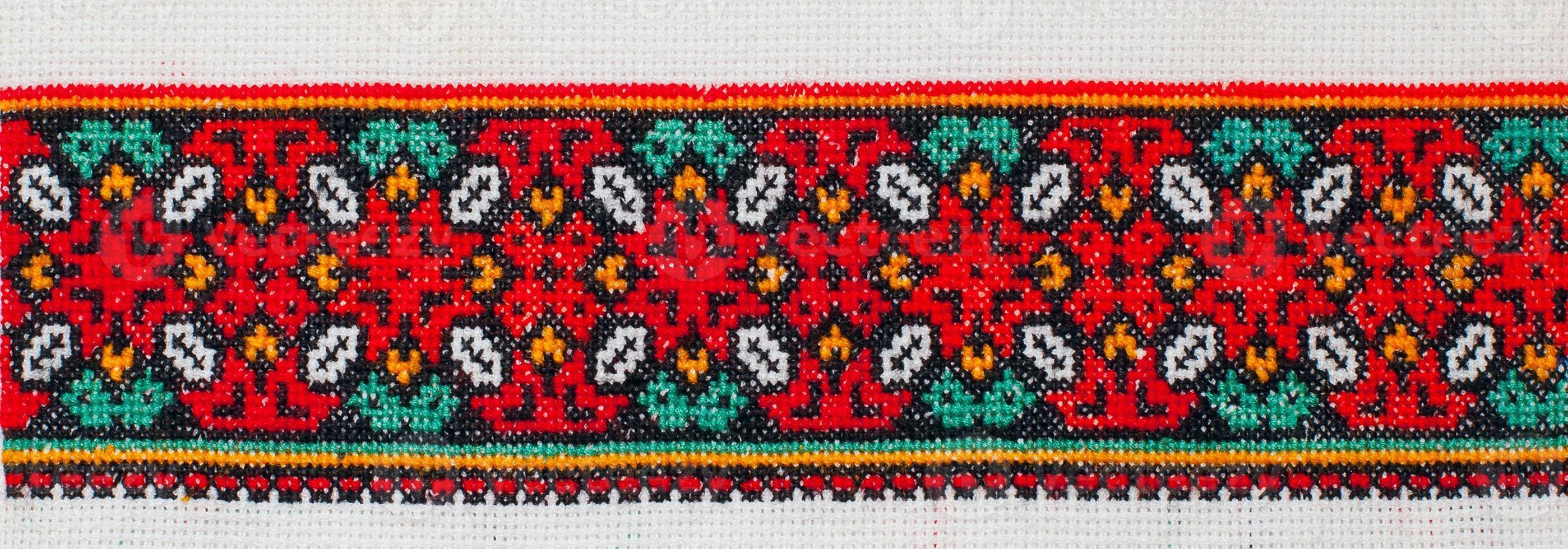 embroidered cross-stitch pattern. ukrainian ethnic ornament photo