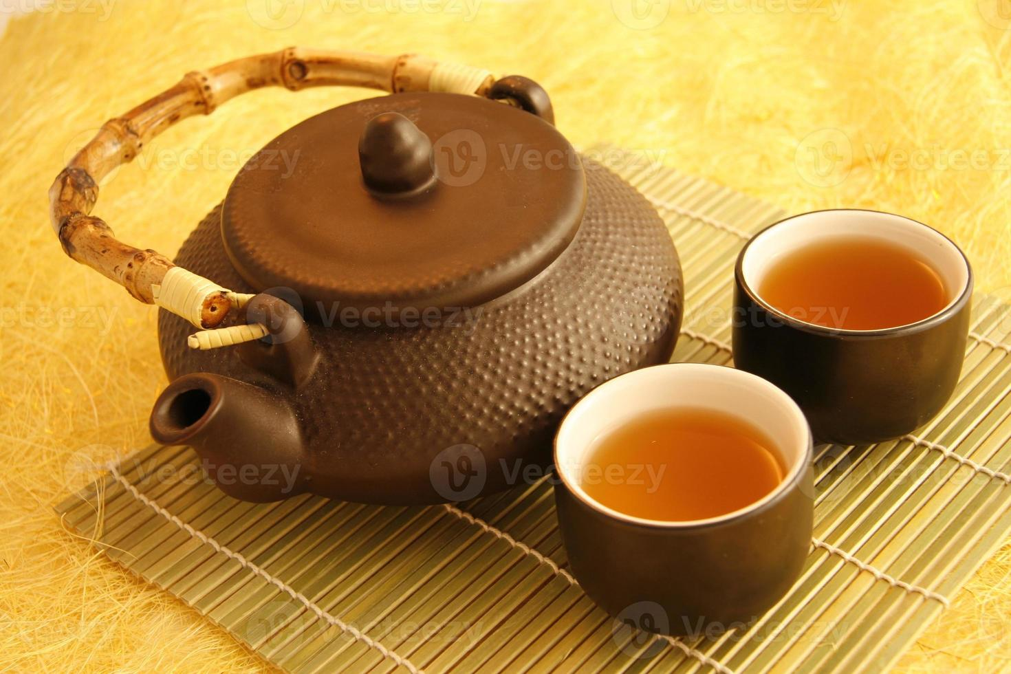 Chinese tea pot with cups photo