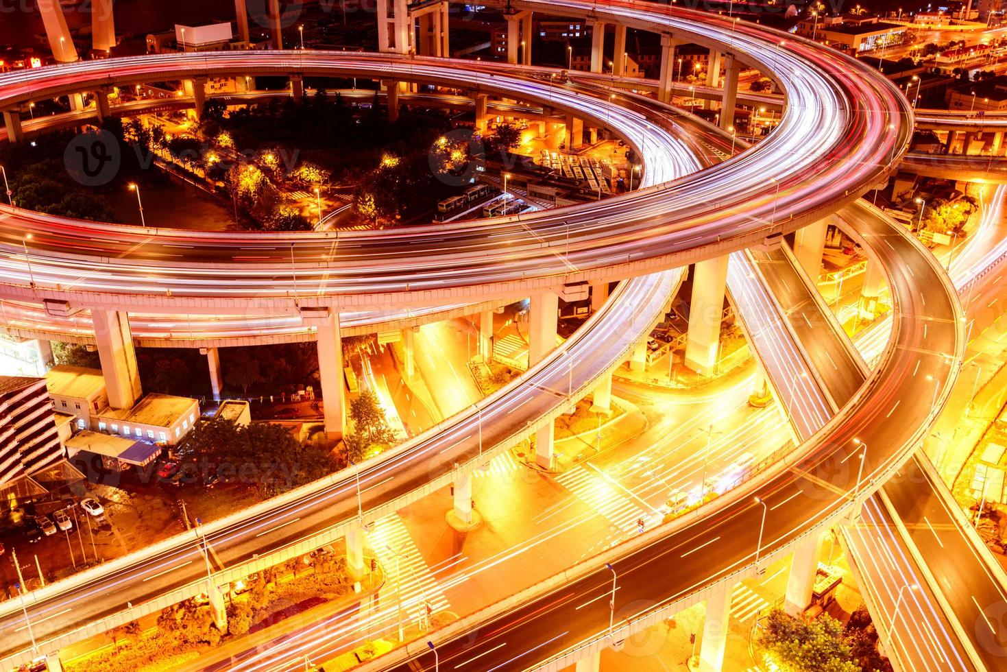 shanghai elevated road junction and interchange overpass at night photo