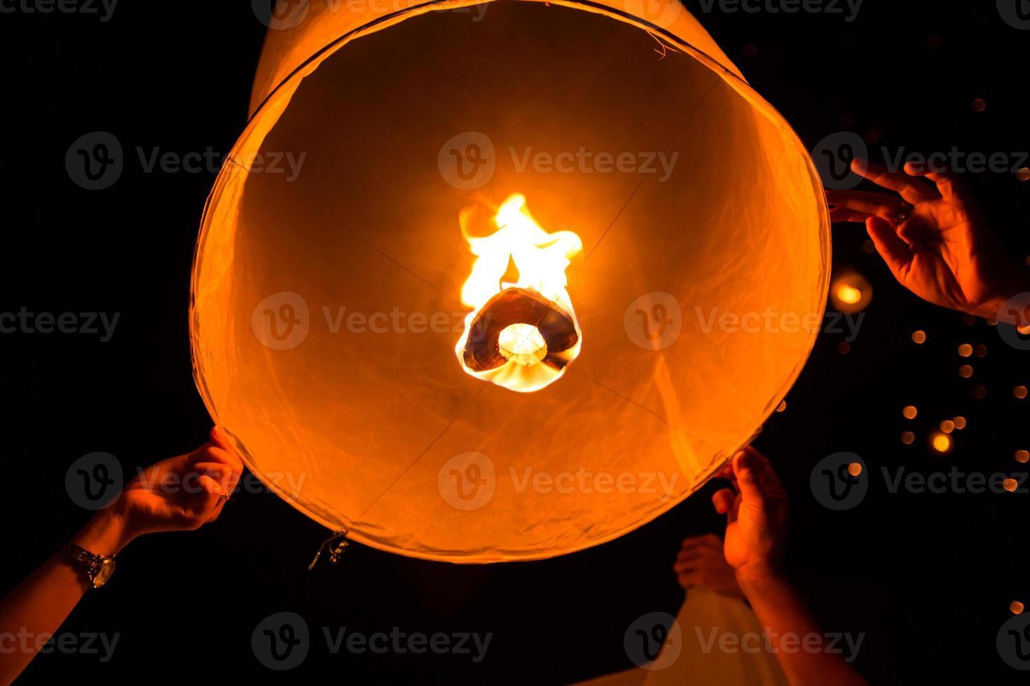 Floating asian lanterns photo