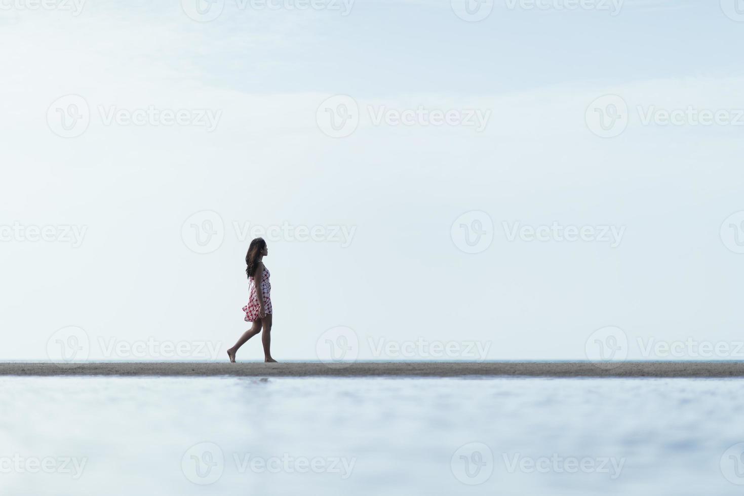 Lifestyle Woman Walking On The Beach photo