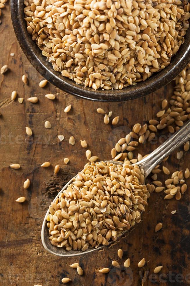 semillas de lino crudas orgánicas foto
