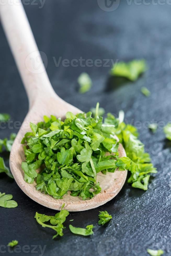 Wooden Spoon with Parsley photo
