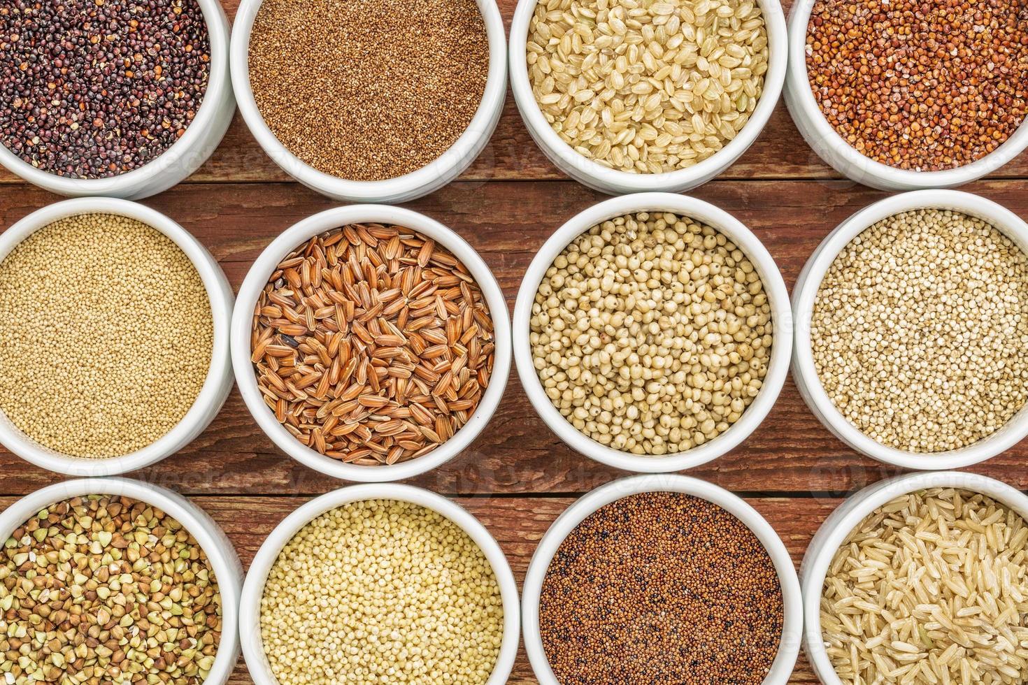 Resumen de granos saludables y sin gluten foto