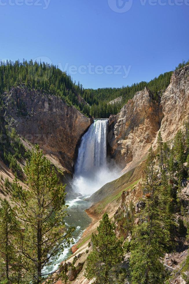Yellowstone Canyon view with fall and river photo