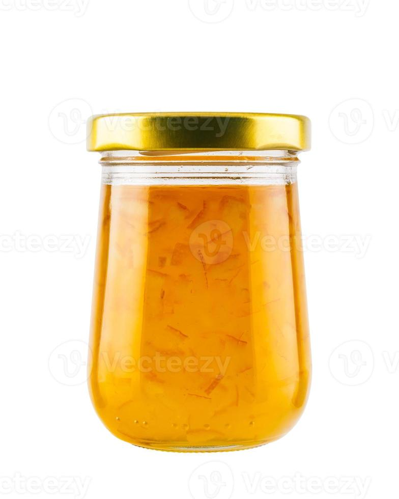 Orange marmalade jam in glass jar photo