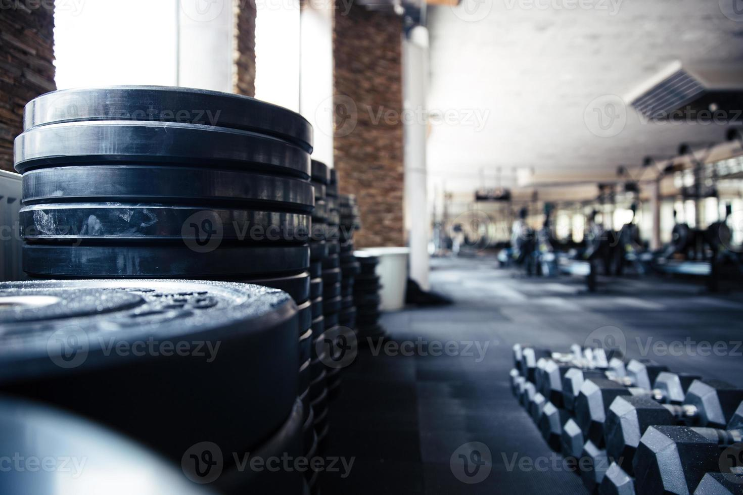 Closeup photograph of fitness equipment in gym photo