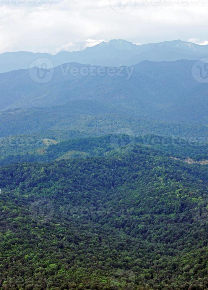 montañas caucásicas boscosas foto