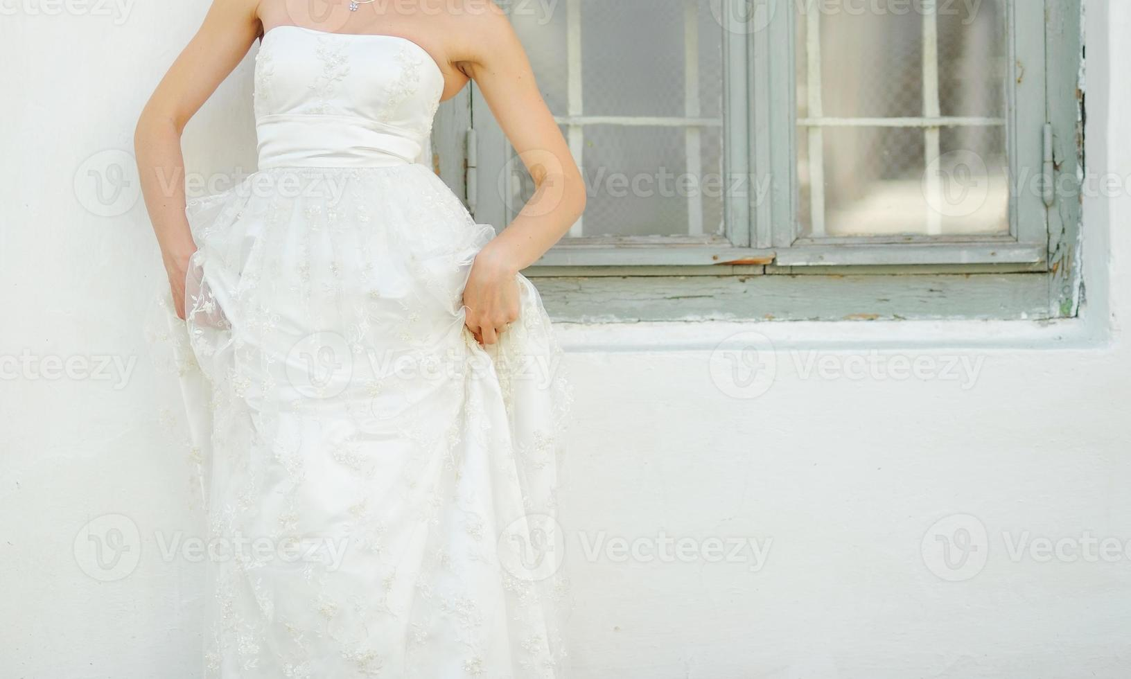 Caucasian bride on wedding day. photo