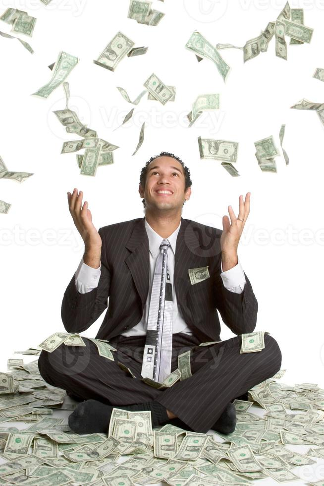 Cash falling on man photo