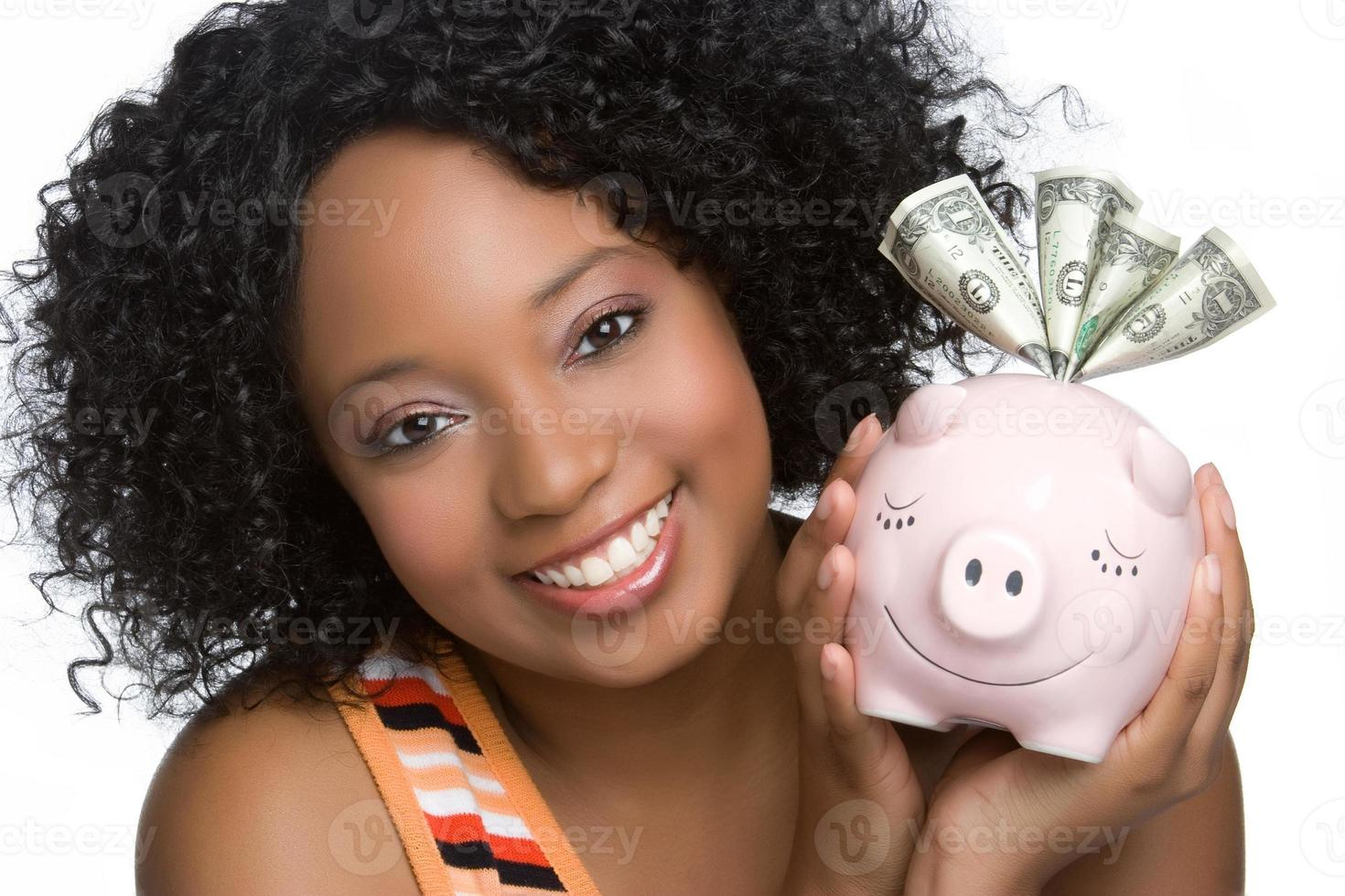 Woman Holding Piggybank photo