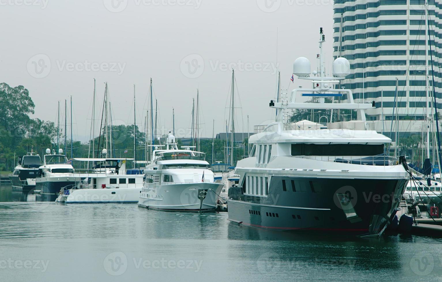 modern luxury yachts at the marina photo