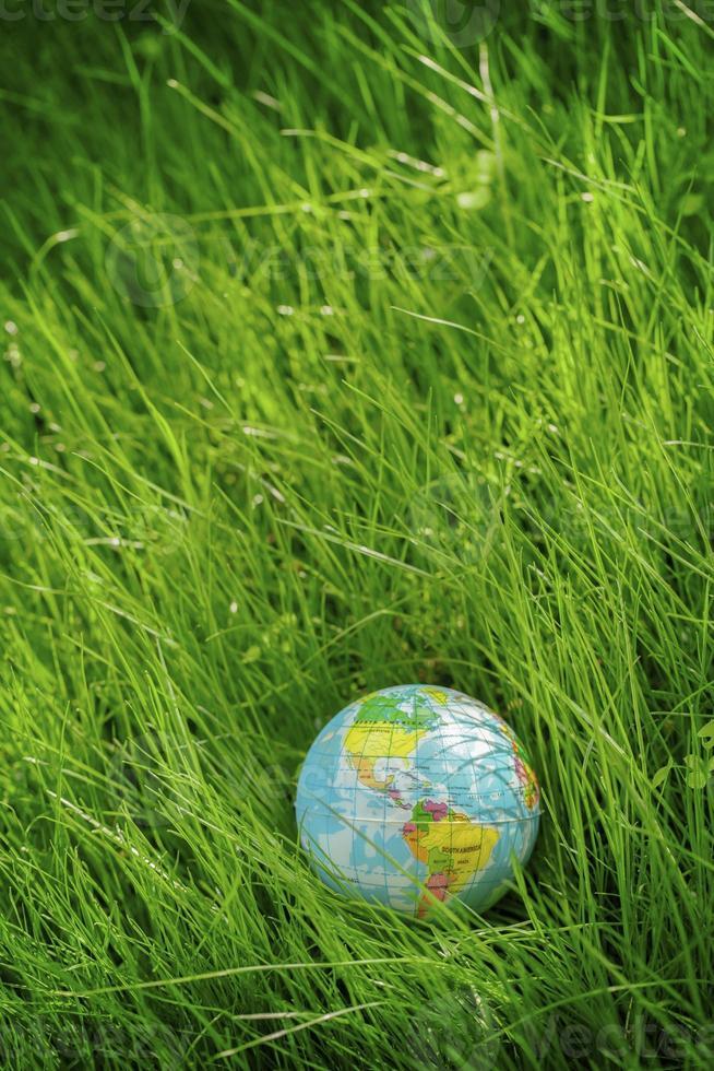 Globo sobre hierba. día de la tierra, concepto de medio ambiente foto