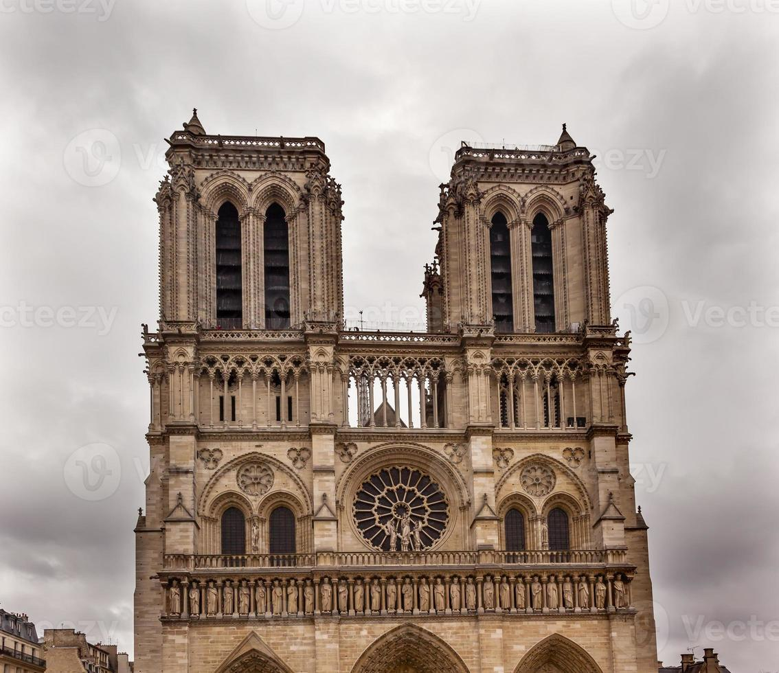 Facade Towers Overcast Notre Dame Cathedral Paris France photo