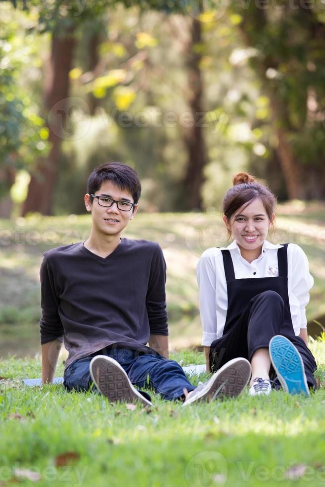 Asian student in park photo