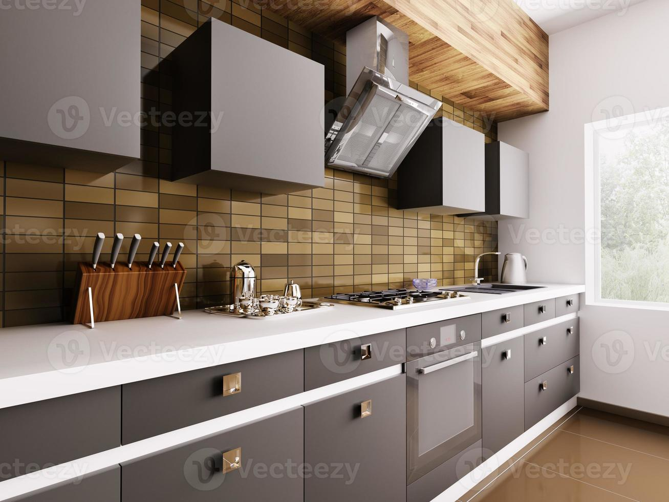 cocina moderna interior 3d foto