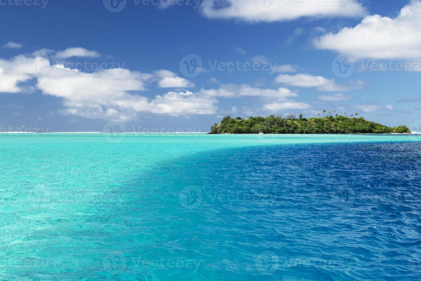 Bora Bora aqua and blue water photo