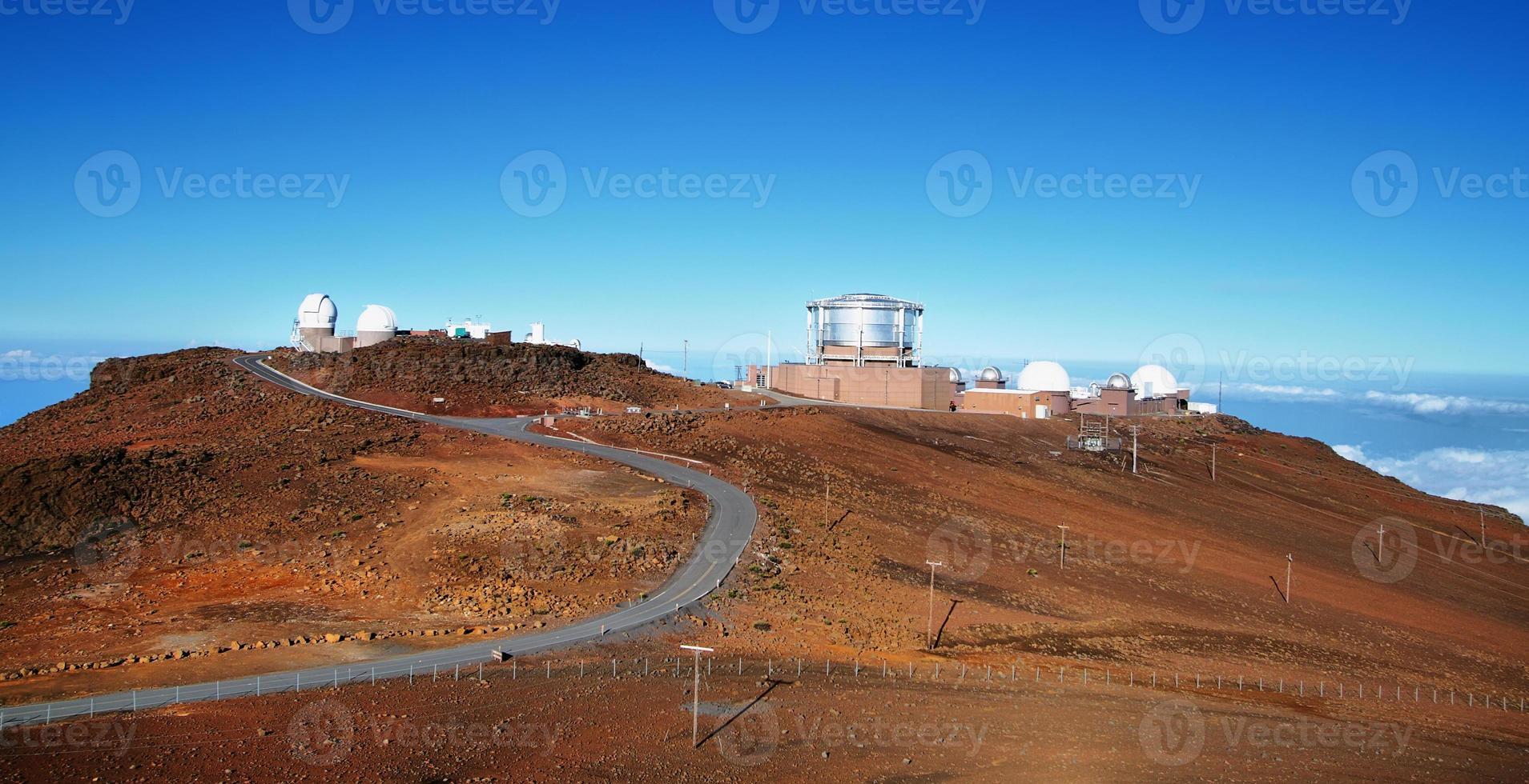 View of observatories from summit Haleakala volcano photo
