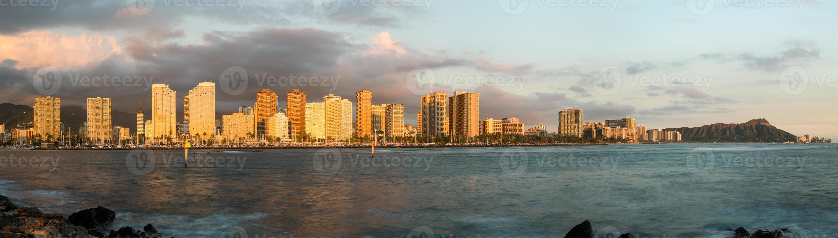 panorama de waikiki honolulu hawaii foto