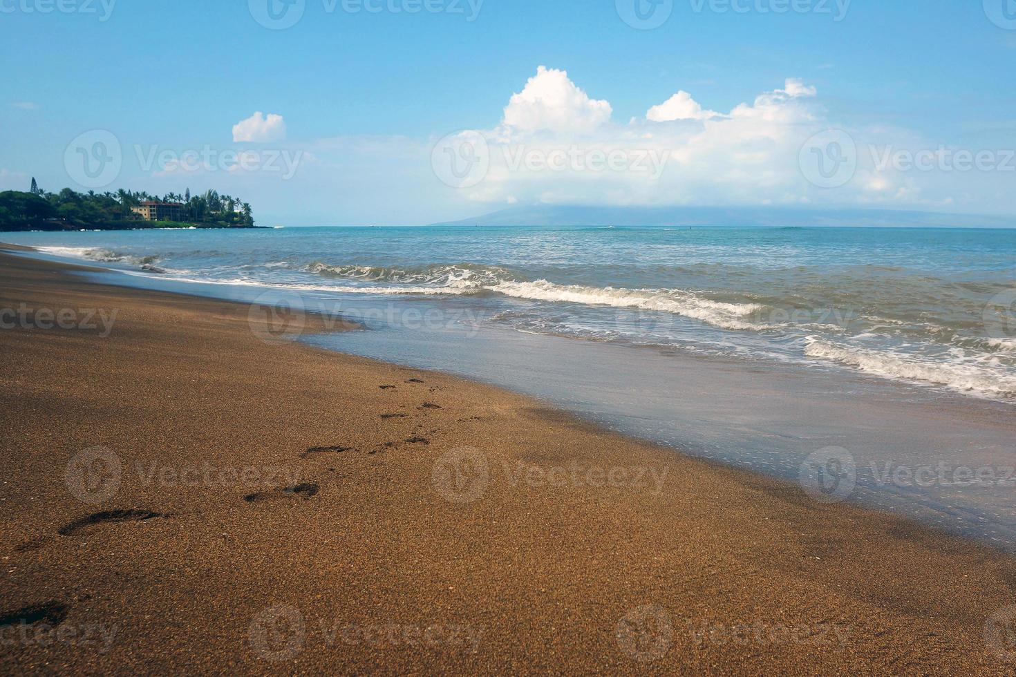 huellas en la playa de kahana foto