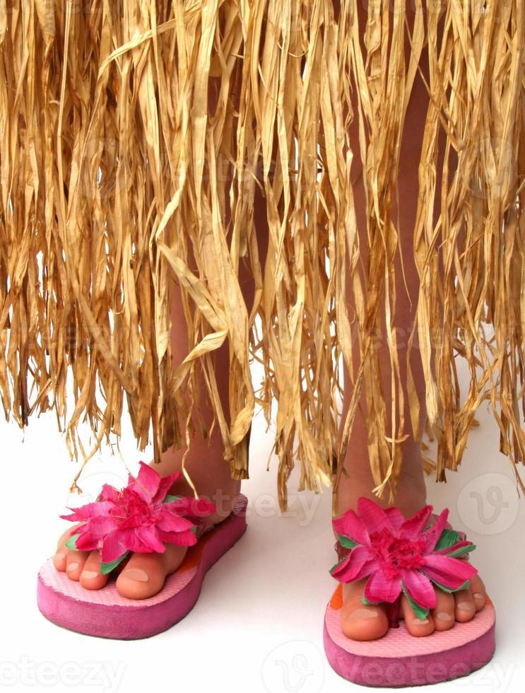 hula skirt and flip flops photo