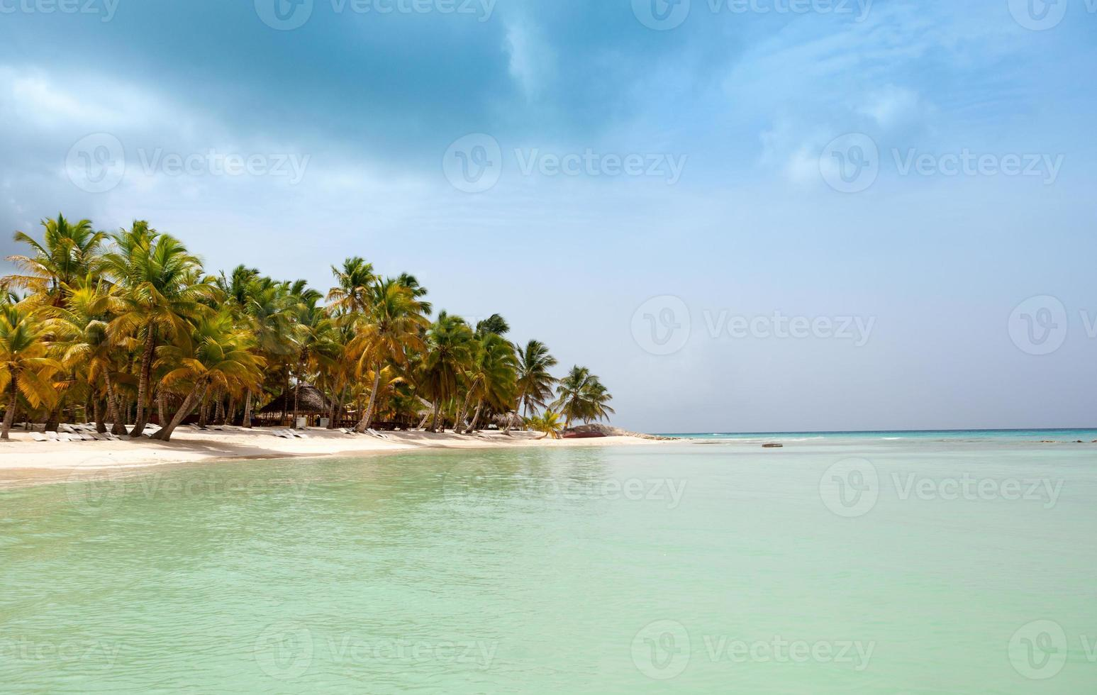 view from the sea on a tropical beach and island photo