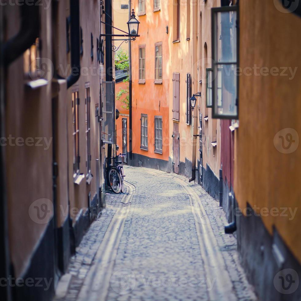 prachtig uitzicht op Gamla Stan Street, Zweden, Stockholm foto