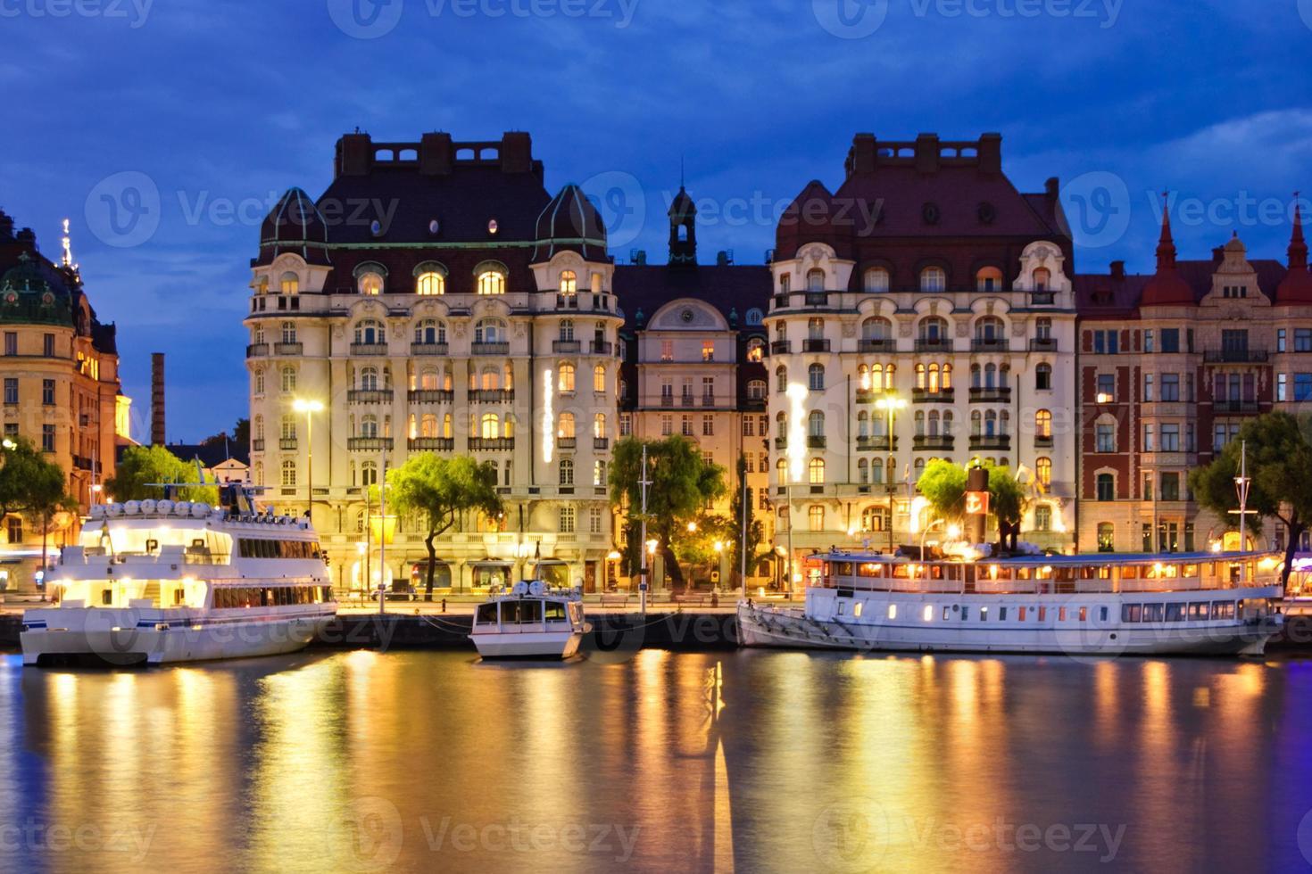 Blue-hour shot of art nouveau buildings in Stockholm photo