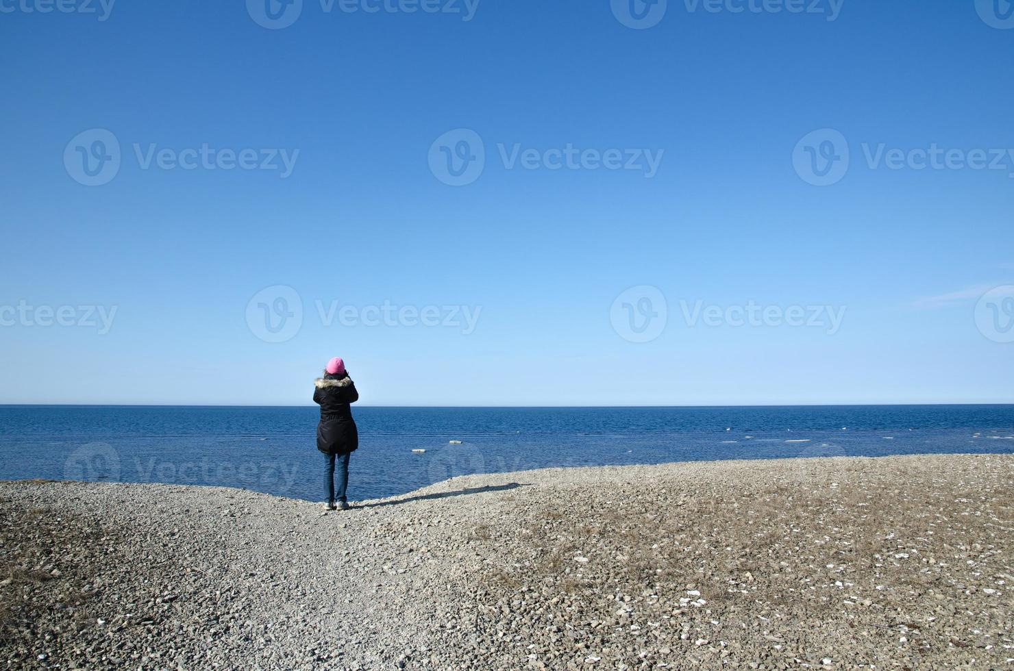 Watching blue sea photo