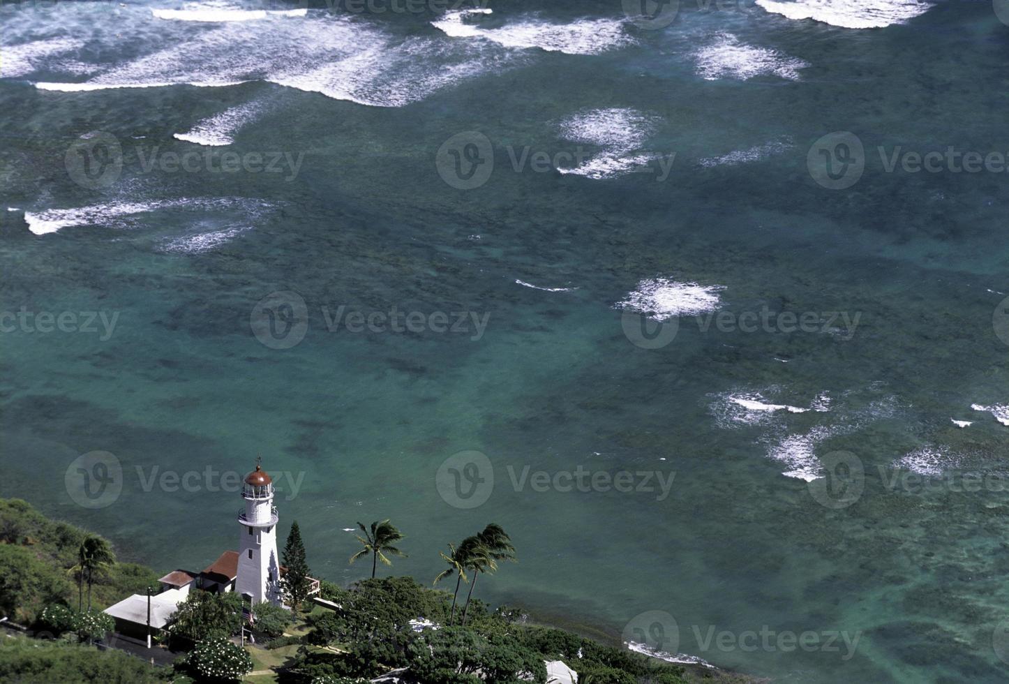 EUA Havaí o'ahu, farol na cabeça de diamante. foto