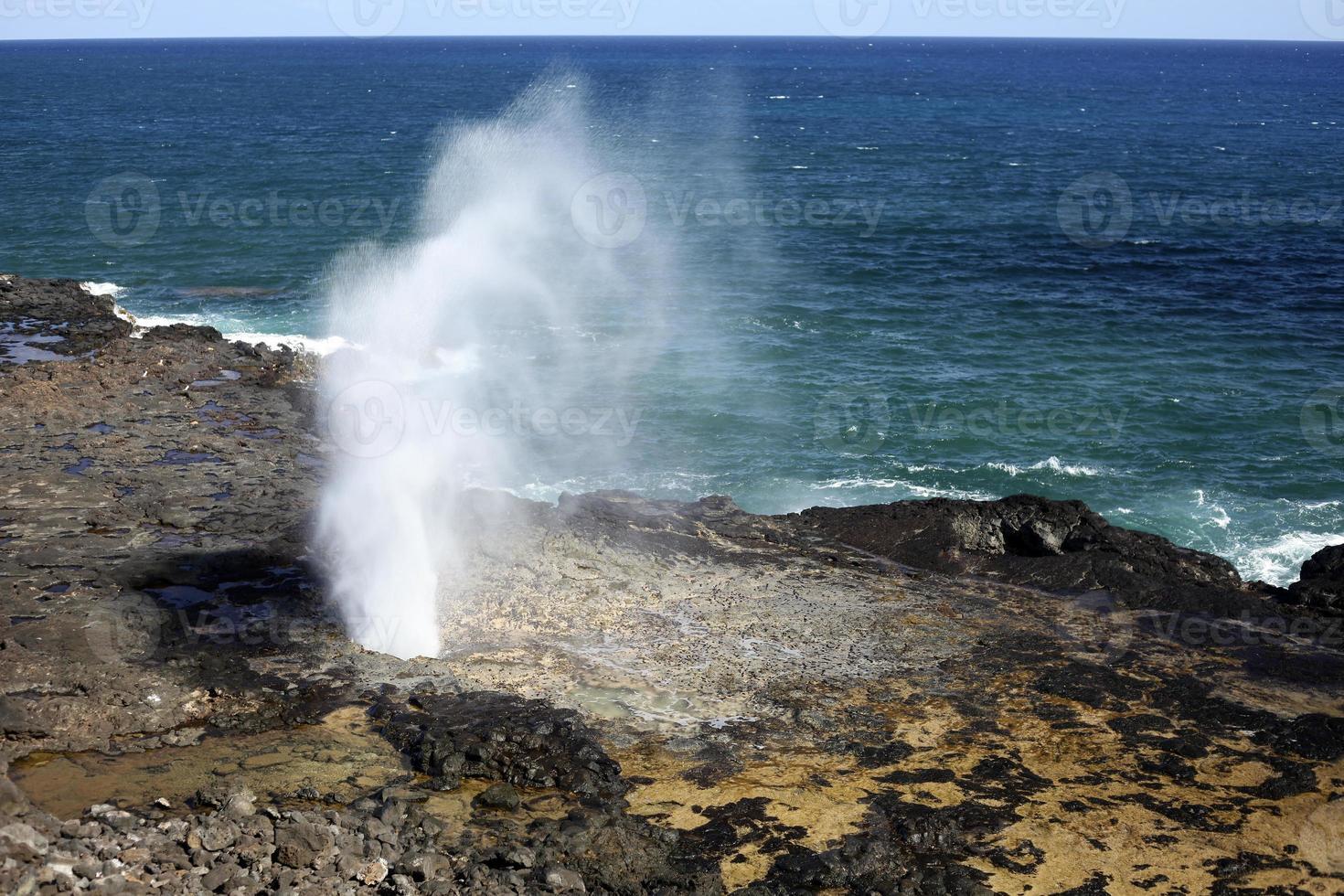 Cuerno de escupir del Océano Pacífico, Hawaii foto