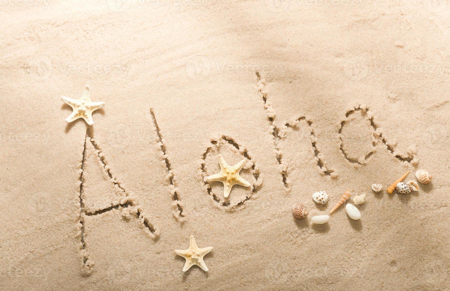 Aloha beach writing with seashells photo