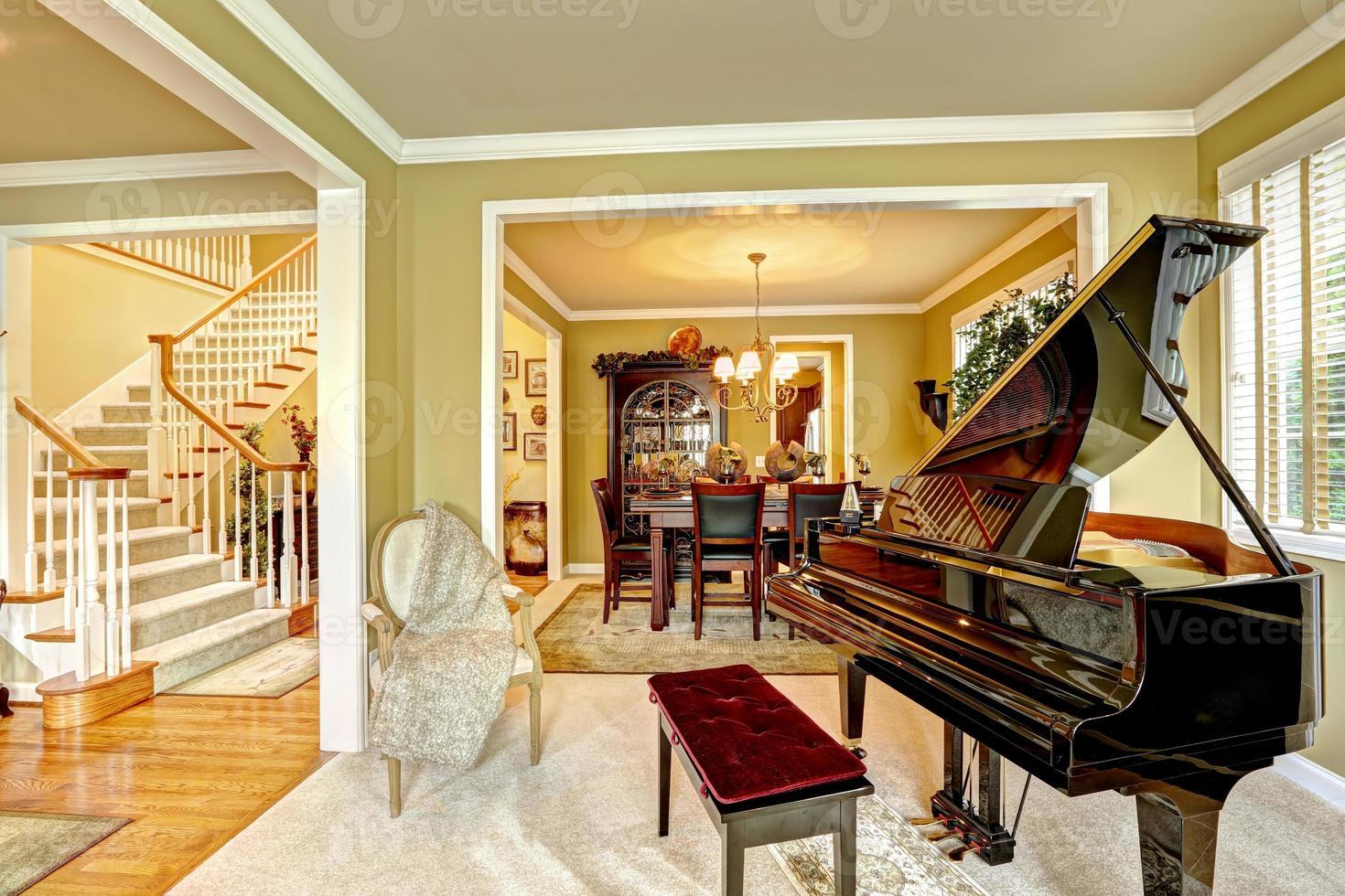 habitación familiar de lujo con piano de cola foto