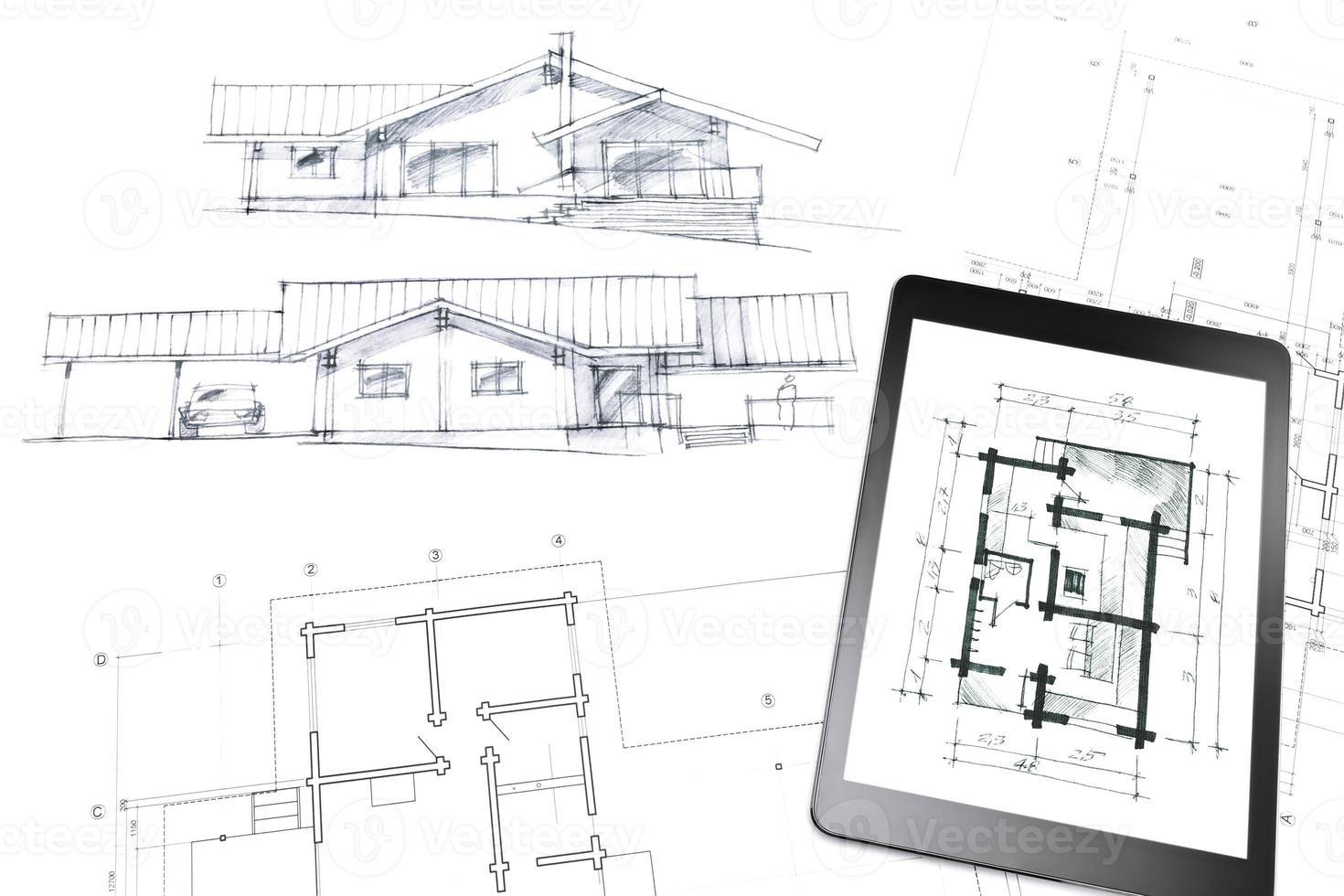 tableta digital en boceto y plano foto