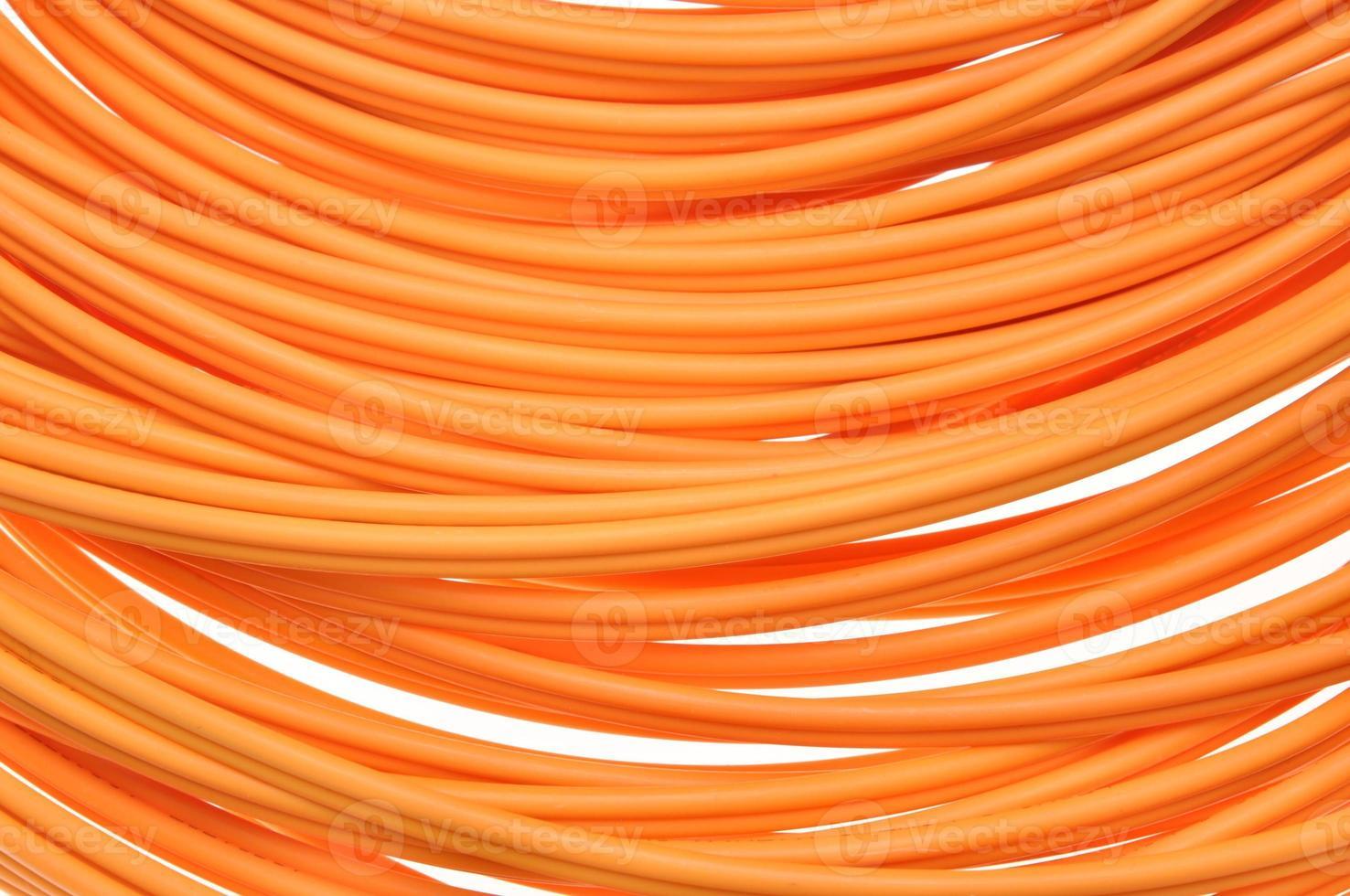 cables ópticos de fibra naranja foto