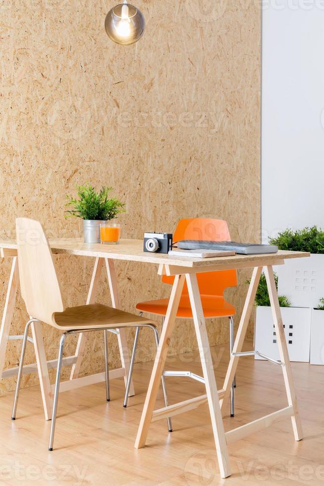 Simple wooden desk photo