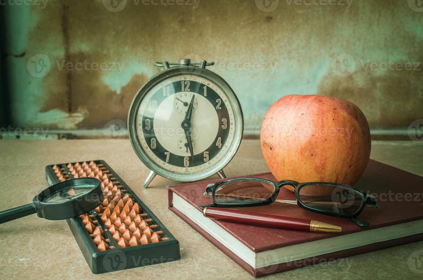 Stationery on the desk. photo