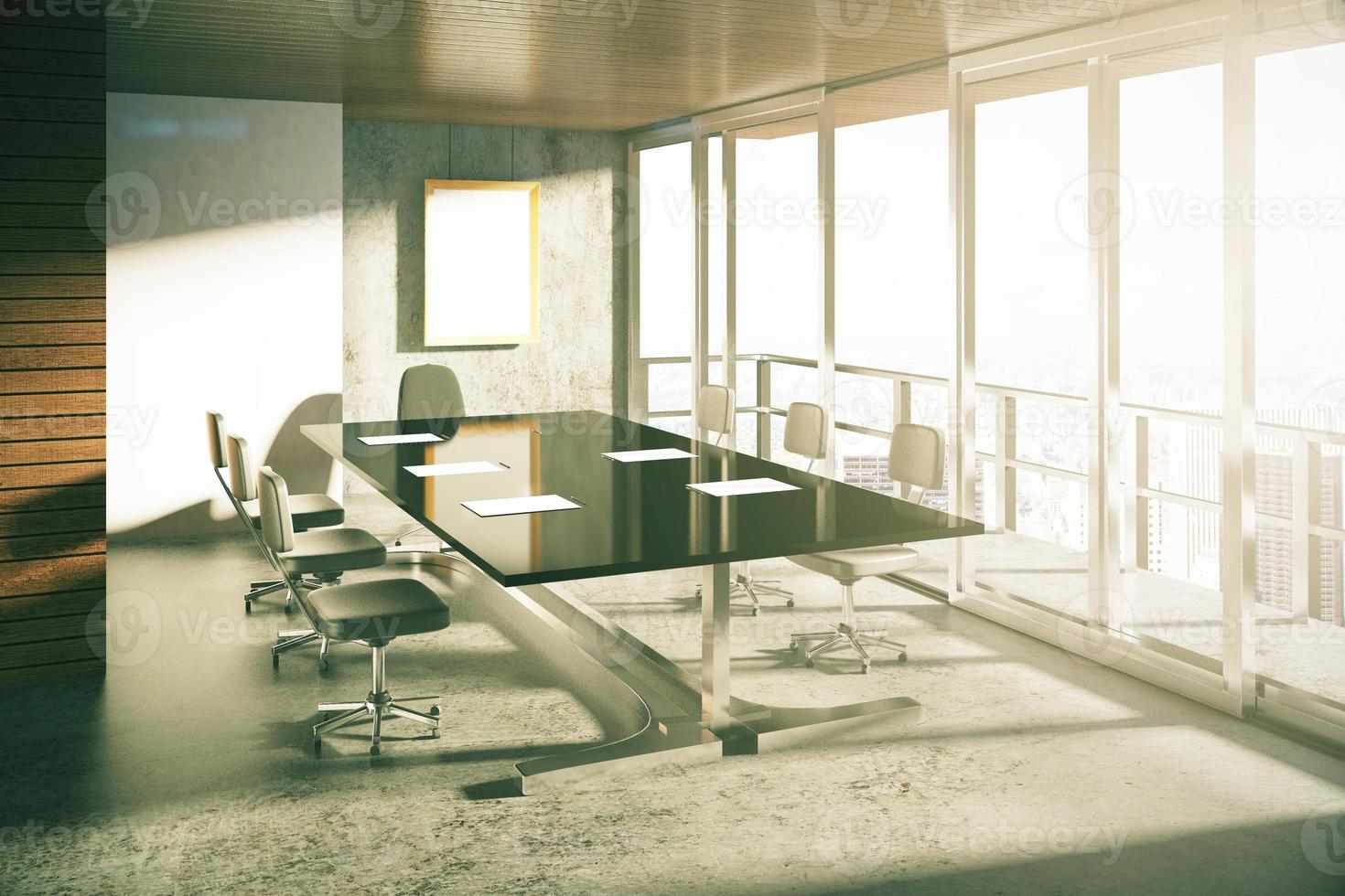 Modern loft style conference room with furniture at sunrise photo