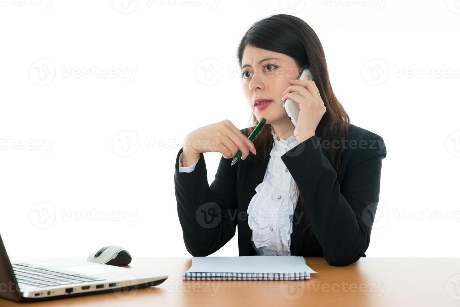 Businesswoman Sitting At Office Desk photo