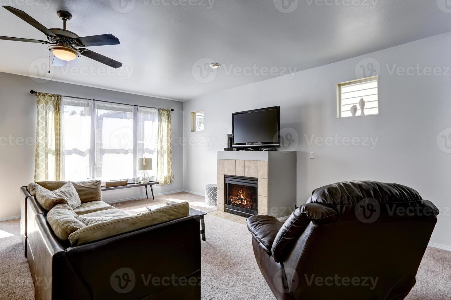 habitación familiar con chimenea y tv foto