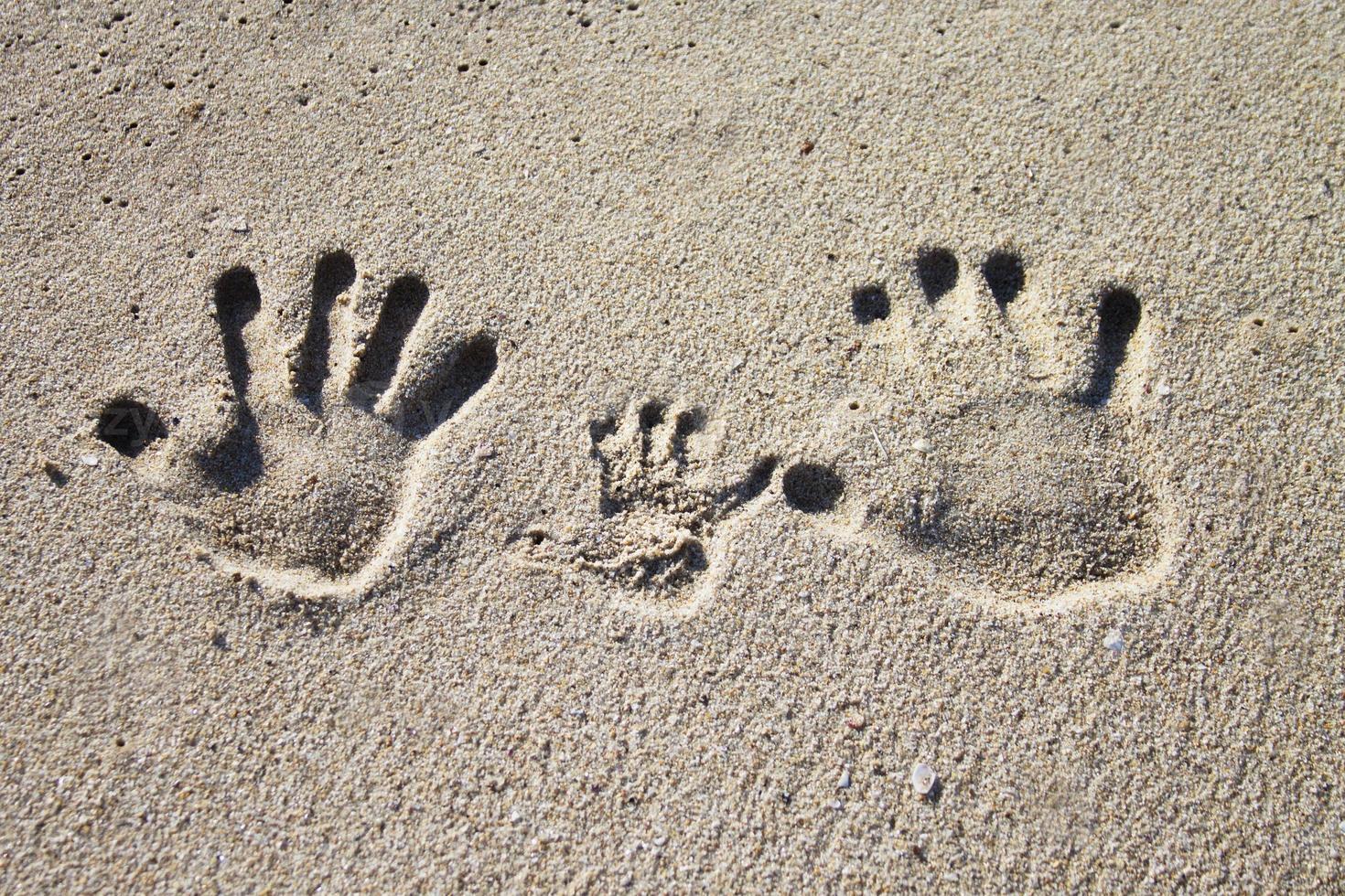Family palm imprints on sand photo