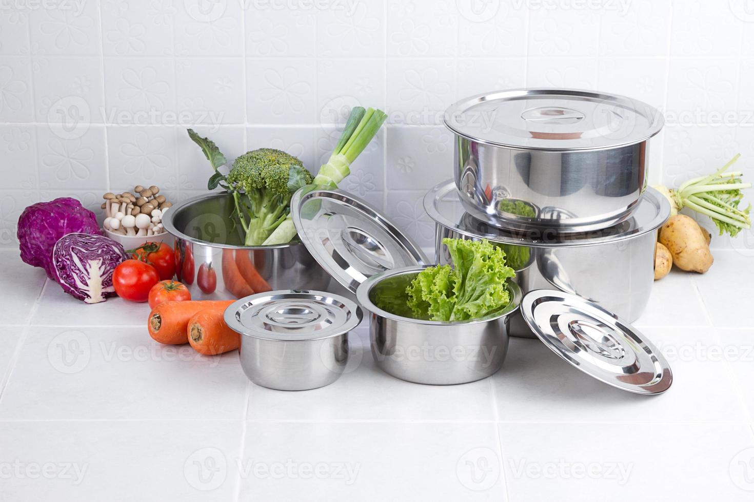 Set of stainless pots photo