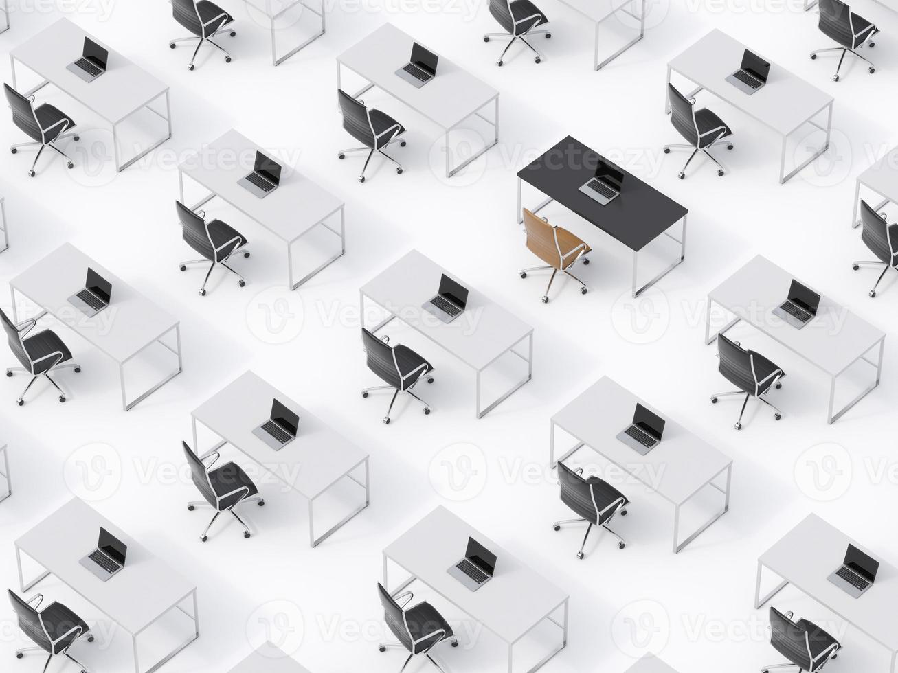 top view of the symmetric corporate workplaces on white floor photo